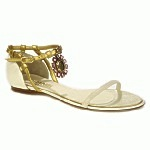 CHANEL Gold Shoes CC Sandals 9C